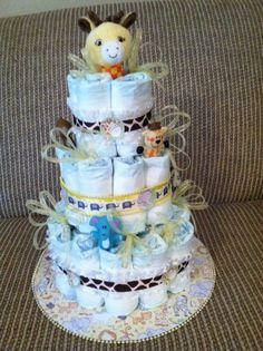 Giraffe & Elephant Diaper Cake for friend of Melissa's