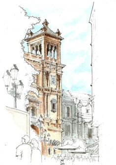 Pen And Watercolor, Watercolor Landscape, Watercolor Paintings, Watercolor Architecture, Art And Architecture, Building Illustration, Urban Sketchers, Sketch Painting, Art Sketchbook