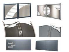 Portail en aluminium et inox de la gamme Esthète, avec motorisation intégrée. Existe en version coulissante sur rail, autoportée ou à battants. ©Art et Portails