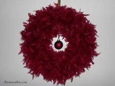 Christmas Wreath, Cranberry Feather Wreath, Cranberry Christmas Wreath, Wreaths by thewreaths for $41.95 #zibbet