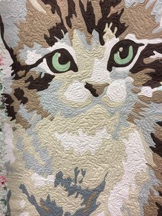 """closeup, """"Meow or Never"""" cat quilt by Erin Michael.  Photo by Lady K Quilt."""