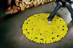 Chartreuse cut out rug