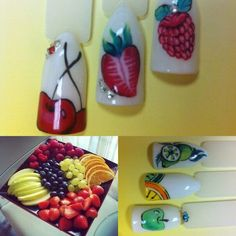 The idea of a summer design of nails with drawings of fruits.