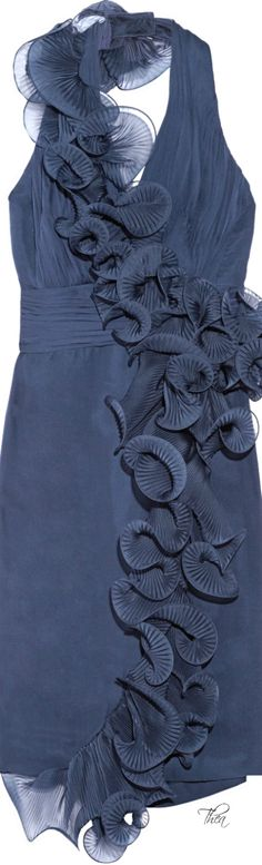 Notte By Marchesa Blue Ruffled Silk-chiffon Dress | The House of Beccaria~