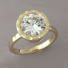 Moissanite Engagement Ring in 14k Yellow Gold  Hand by esdesigns, $424.00