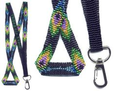 Peacock Feather Lanyard : Beading Patterns and kits by Dragon!, The art of beading. Loom Beading, Beading Patterns, Beading Ideas, Lanyard Designs, Bead Loom Designs, Beaded Lanyards, Feather Design, Macrame Projects, Beaded Jewelry