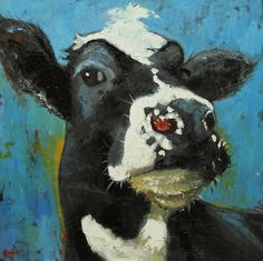 Cow painting 611 24x24 inch animal original oil painting by Roz. $265.00, via Etsy.