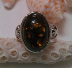 Natural Amber Sterling Silver Plated Ring size 5.5 #H8