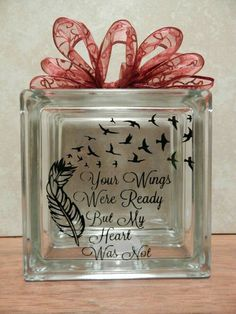 memorial glass block with lights your wings were ready by OSewYou Christmas Glass Blocks, Lighted Glass Blocks, Christmas Signs, Christmas Wood, Painted Glass Blocks, Christmas Crafts, Glass Cube, Glass Boxes, Glass Art
