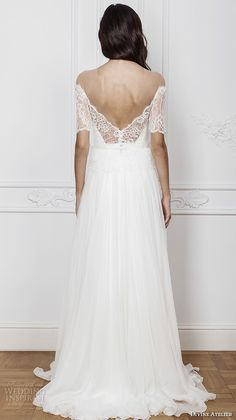 divine atelier 2016 bridal gowns half sleeves illusion off the shoulder sweetheart neckline with slit elegant a line wedding dress open back brush train (ambra) bv