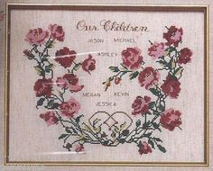 """1992 OUR CHILDREN Family Tree Counted Cross Stitch Kit - 8"""" x 10"""" -Lois Thompson 