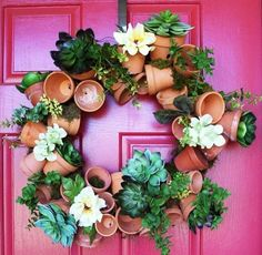 My interpretation of the great flower pot wreath idea. Succulent Pots, Succulents Diy, Garden Crafts, Garden Art, Bird Bath Garden, Hanging Plant Wall, Outdoor Wreaths, Clay Pot Crafts, Easter Wreaths