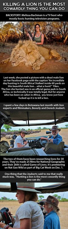 Killing a lion is the most cowardly thing you could do, Melissa Bachman!!!