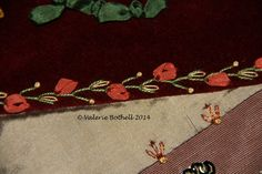 Crazy Quilt Stitch #3, Feather Stitch + French Knot + Silk Ribbon Lazy Daisies © Valerie Bothell 2015