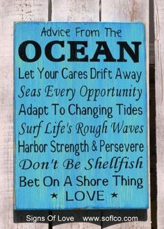 Beach Signs Decor Magnificent Ocean Advice Sign  Hand Painted Beach Decor Signs Wisdom From 2018