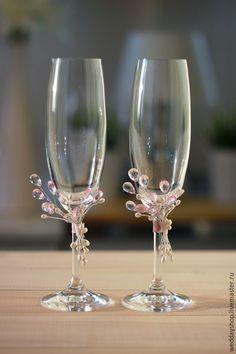 """Купить Свадебные бокалы """"Pink Drops"""" - свадьба, свадебные аксессуары, свадебные бокалы, бокалы для свадьбы"""