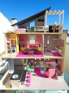 Barbie Room, Barbie Dolls Diy, Barbie Doll House, Barbie Dream House, Cardboard Dollhouse, Dollhouse Kits, Modern Dollhouse, Barbie House Furniture, Dollhouse Furniture