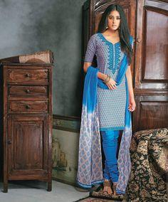 Blue Cotton Churidar Salwar Kameez 79126