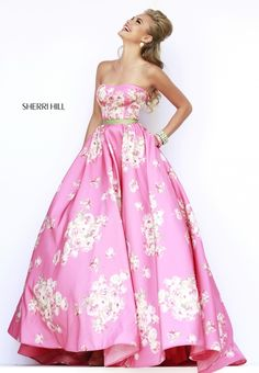 Pink/Gold Floral Sherri Hill prom dress (one of my favourites)