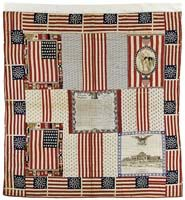 RARE PATRIOTIC BANDANNA CENTENNIAL AMERICAN QUILT. Circa 1876. This two-sided example with 39-star flags, George Washington panel, a panel of the Memorial Hall Art Gallery, etc. Quilted overall with fabric prepared for the U.S. Centennial of 1876 and bordered with 39-star American flags. NOTE: An official flag with 39 stars was never used. Flag manufacturers believed that the two Dakotas would be admitted as one state and so manufactured this flag, some of which still exist.