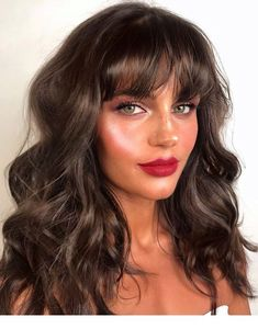 Premium Selena Hair Style Ombre Brown Synthetic Wigs For Women, Two Tones Dark Roots Long Wavy Front Lace Wig Heat Resistant Hair dark hair styles Grace Fantasy Hair Hairstyles With Bangs, Cool Hairstyles, Bangs Hairstyle, Haircuts With Fringe, Dark Brown Hairstyles, Full Fringe Hairstyles, Haircut Bangs, Halloween Hairstyles, Hairstyle Short