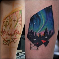 Northern Lights tattoo stars forest night sky