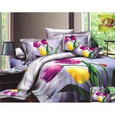 Sivá bavlnená posteľná bielizeň s motívom fialových a žltých tulipánov