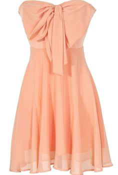 Oversized Bow Chiffon Dress in Peach