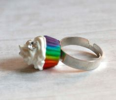 Rainbow cupcake cream ring made of polymer clay by Zoozim on Etsy