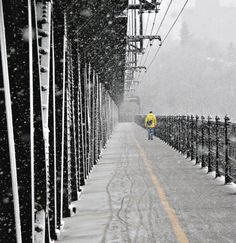 Winter on Edmonton's High Level Bridge {note all the bicycle tire treadmarks in the snow}