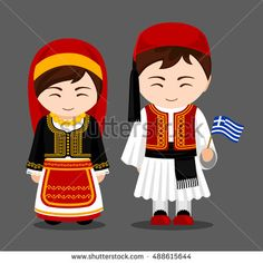Illustration of Greeks in national dress with a flag. Man and woman in traditional costume. Travel to Greece. vector art, clipart and stock vectors. Greek Traditional Dress, Traditional Outfits, Traditional Wedding, Anastasia, Travel To Ukraine, Costumes Around The World, Dress Illustration, World Thinking Day, Indian Bridal Fashion