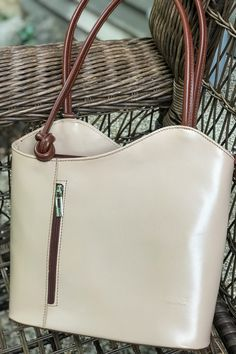 A roomy 2 compartment purse with zip separator pocket. Inside and outside zip wall pockets. Simply pull the straps back to convert to backpack or pull up for a shoulder bag. Made in Florence Italy - this bag is perfect for your stylish, sleek and classy Mom! #momgift #backpackbags #fashionbackpacksbags #fashionbackpack #fashionbackpackspurse #shoulderbag #pursesandhandbags #giftforher #mothersdaygift How To Make Handbags, Purses And Handbags, Backpack Purse, Fashion Backpack, Italian Leather Handbags, Convertible Backpack, Wall Pockets, Florence Italy, Smooth Leather