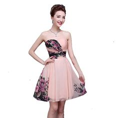 Aurora Bridal Womens 2016 Ombre Chiffon Straps Short Bridesmaid Dress Pink CS *** Read more reviews of the product by visiting the link on the image.