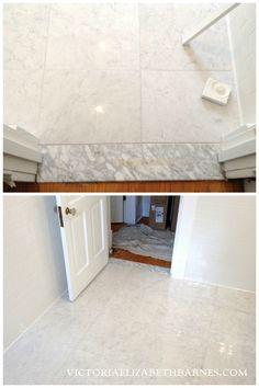 Marble LOOK-ALIKE porcelain tile! I LOVE Carrara marble floor tile... but I didn't want the maintenance. I finally found a great porcelain option!!