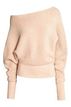 Jersey oversize: Jersey de manga larga en punto de canalé de mezcla de algodón…