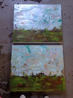 'Field of dreams' (2) 24 x 20 canvases  Oil,acrylic and charcoal
