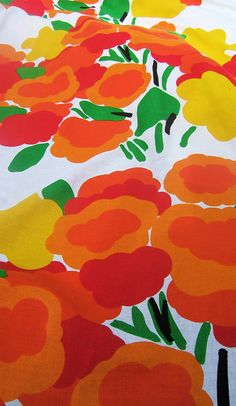 Marimekko, Finland  vintage pop art fabric bedspread, Morning pattern, orange red flowers