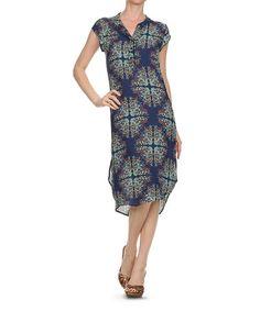 $32.99 Look what I found on #zulily! Navy Kaleidoscope Notch Neck Dress #zulilyfinds
