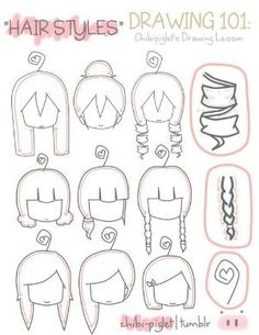 Hairstyles, chibi, text, girl, female; How to Draw Manga/Anime by candace