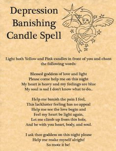 Depression Banishing Candle Spell, Book of Shadows Page, BOS Pages, Witchcraft FOR SALE • $2.00 • See Photos! Money Back Guarantee. Depression Banishing Candle Spell page. WELCOME Greetings! Here at The Grimoire you will find top quality pages for your Book of Shadows, handmade for you by a real Witch from 271640072371