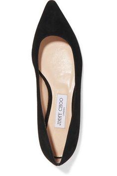 Jimmy Choo - Romy Suede Point-toe Flats - Black - IT41.5