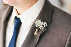 Baby's breath wedding boutonniere