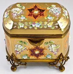 Antique Bohemian Glass Sugar Casket, Box, by Moser