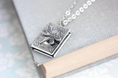 Dragonfly Necklace Wings Book Locket Pendant by apocketofposies