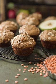 Healthy Apple Lentil Muffins | These muffins are perfect for toddlers and kids and are packed with secret nutrition from lentils, yogurt, apples, and whole wheat flour. They are easy to make-ahead and freeze, too. Click through for the recipe!
