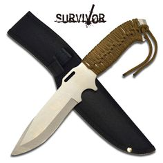 @ShopAndThinkBig.com - Fixed Blade Knife 11.5 Overall 5 Silver 440 Stainless Steel Blade 5 Thick Cord Wrapped Handle Includes Nylon Sheath http://www.shopandthinkbig.com/silver-440-stainless-steel-fixed-blade-knife-survivor-p-1160.html