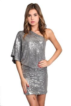 Steal the Show One Shoulder Sequin Dress - Silver - $42.00 | Daily Chic Dresses | International Shipping