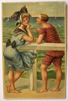 Vintage postcard Man & Woman Chat on Beach