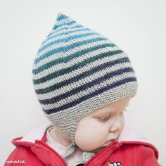 Ravelry: Little gnome hat pattern by Unnur Eva Arnarsdóttir Kids Knitting Patterns, Baby Hat Knitting Pattern, Baby Hats Knitting, Knitting For Kids, Crochet For Kids, Knitted Hats, Knitting Ideas, Crochet Cap, Crochet Beanie