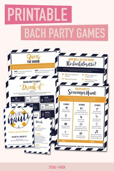 It's not a bachelorette weekend without a few fun games to get the party started! We created four classic and fun nautical-themed bachelorette party activities the entire bride squad will love. Choose from a Bachelorette Party Scavenger Hunt, Drink If Drinking Game, Groom Quiz, Bridal Trivia or purchase the bundle and get one game free! Pair with matching bachelorette party invitations, cups, coozies and shirts from our Let's Get Nauti Bachelorette Party Collection to complete the theme. Bachelorette Party Scavenger Hunt, Bachelorette Party Activities, Nautical Bachelorette Party, Bachelorette Party Invitations, Bachelorette Weekend, Party Games, Fun Games, Bachelorette Nashville, Games